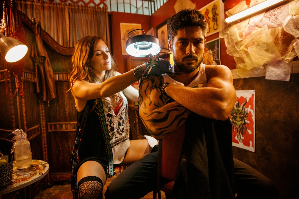 From Dusk Till Dawn: The Series, for El Rey Network and Miramax. L to R; Briana Evigan as Sonja Lam and D.J. Cotrona as Seth Gecko.