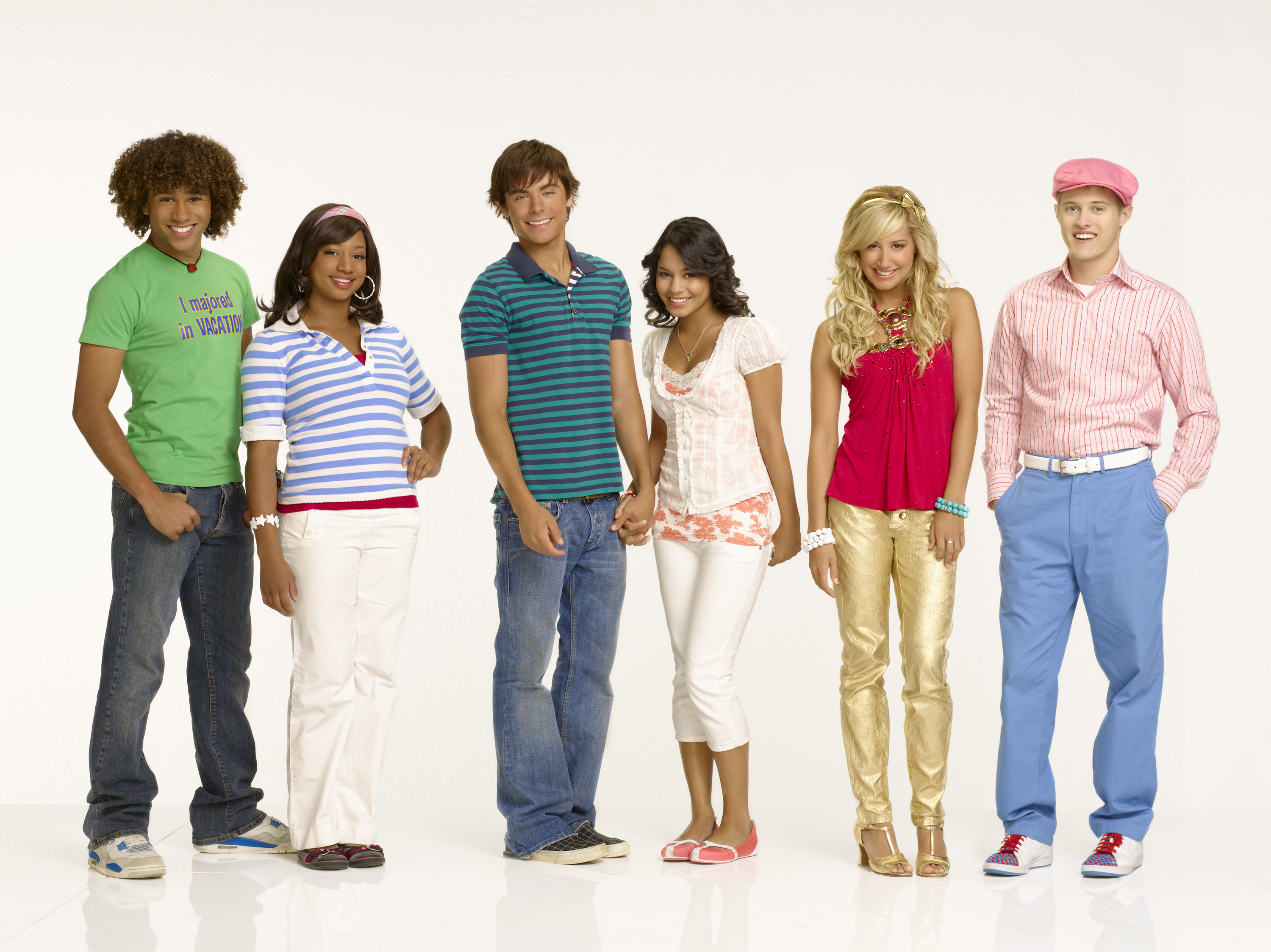 "HIGH SCHOOL MUSICAL 2 - Disney Channel's ""High School Musical 2"" stars Corbin Bleu as ""Chad Danforth,"" Monique Coleman as ""Taylor McKessie,"" Vanessa Hudgens as ""Gabriella Montez,"" Zac Efron as ""Troy Bolton,"" Ashley Tisdale as ""Sharpay Evans"" and Lucas Grabeel as ""Ryan Evans."" (DISNEY CHANNEL/ BOB D'AMICO)"